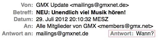 Bild einer GMX-Mail