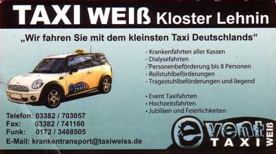 Visitenkarte des Taxiunternehmers