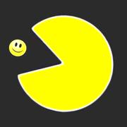 ein Pacman der einen Smiley schluckt