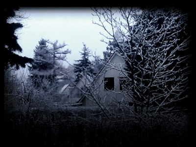 verschneite Sicht aus dem Fenster