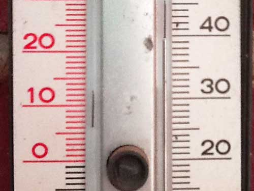 Thermometer bei ca. 39,5 Grad Celsius